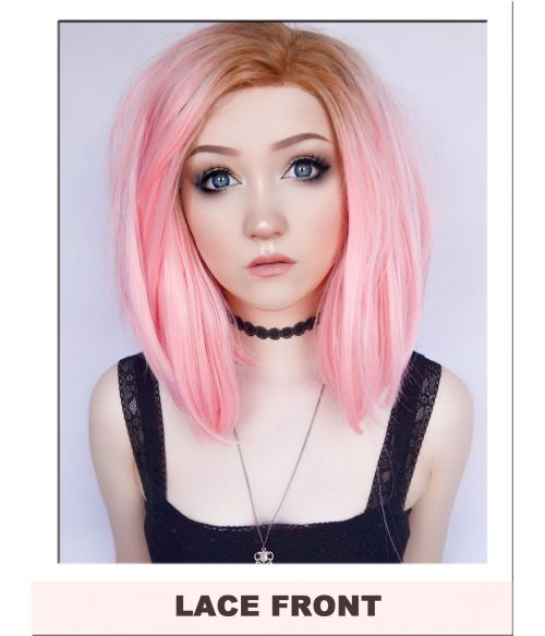 Pink Lace Front Wig Bob Pastel