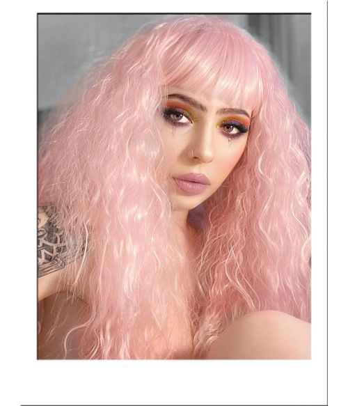 Pink Wig Crimped