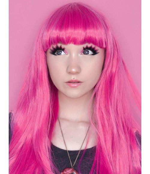 Pink Wig With Bangs
