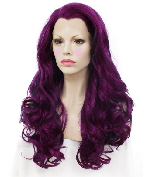 Purple Wig Lace Front Long