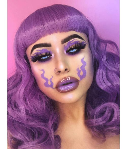 Purple Wig With Short Bangs