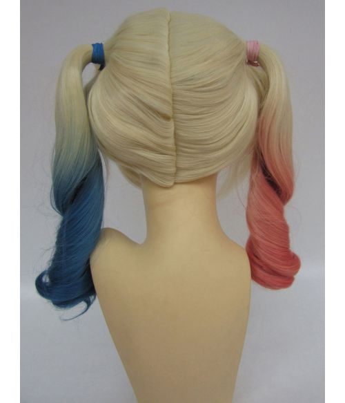 Realistic Harley Quinn Wig Bunches Pink Blue