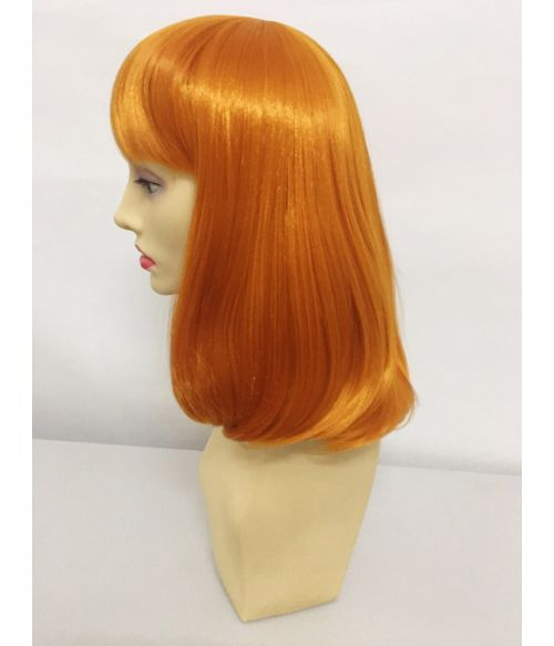 Red Lob Wig With Bangs