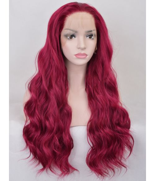 Red Purple Lace Front Wig Long Wavy