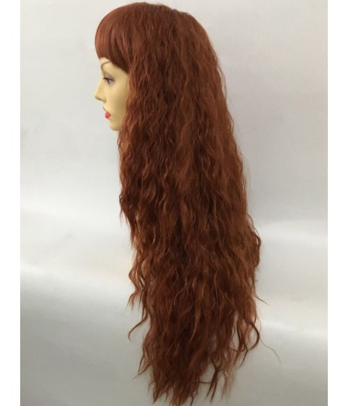 Red Wig Curly Crimped