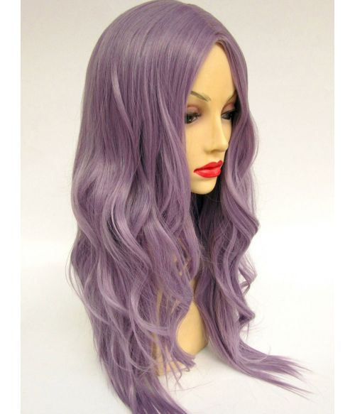Silver Purple Wig Long Wavy