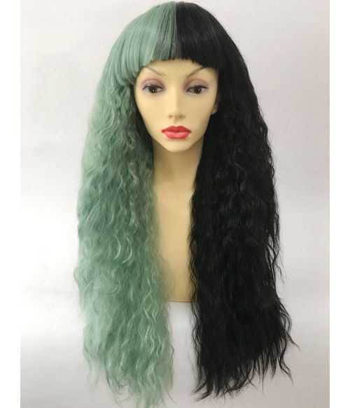 Split Colour Wig Black And Green