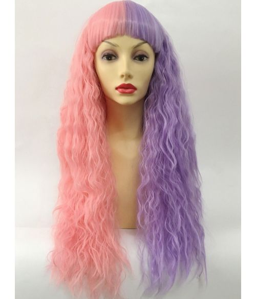 Split Colour Wig Pink And Purple
