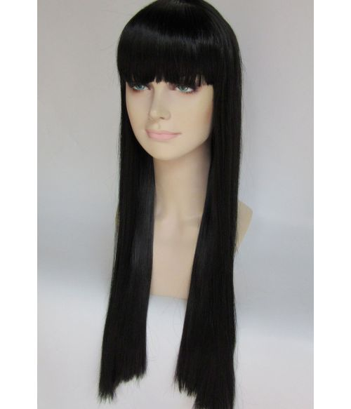 Straight Long Black Wig With Fringe