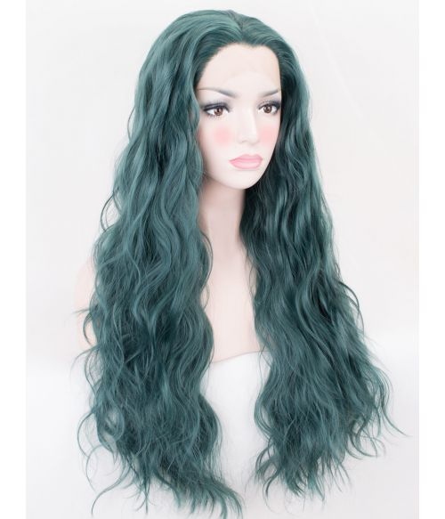 Wavy Green Lace Front Wig Long