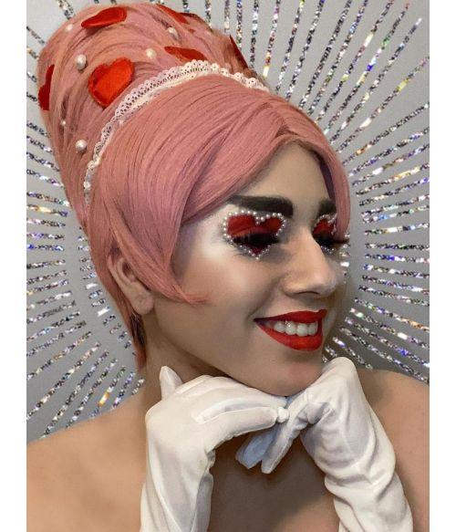 1960s Wig Beehive Pink