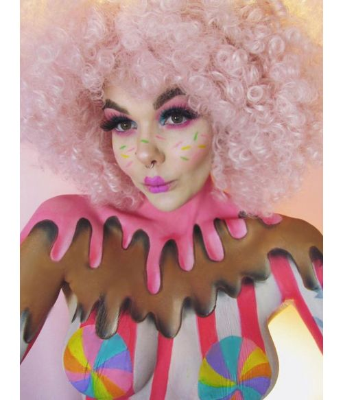 Afro Wig Pink Curly