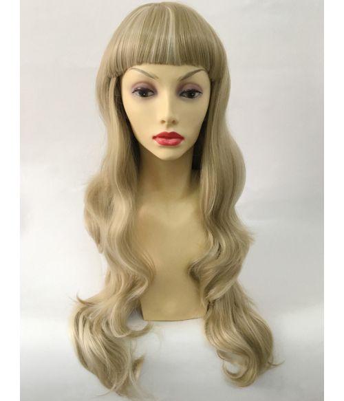 Blonde Wig Long Wavy With Short Bangs