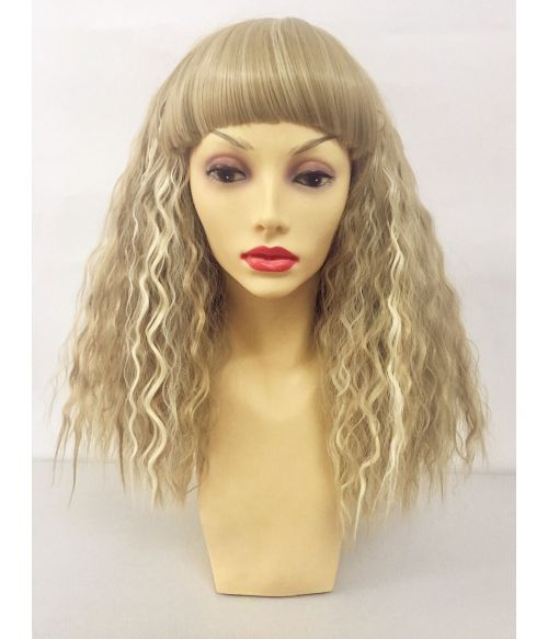 Blonde Wig With Bangs Curly Crimped