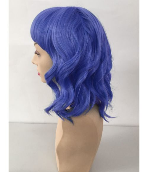 Blue Wig Wavy With Bangs