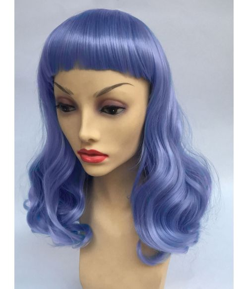 Blue Wig With Short Bangs