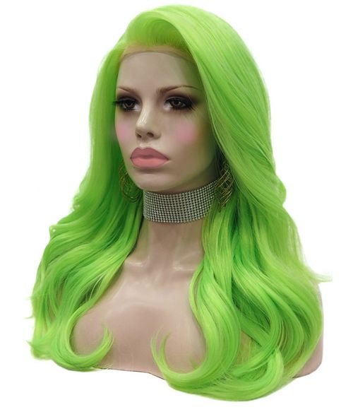 Bright Green Lace Front Wig Long