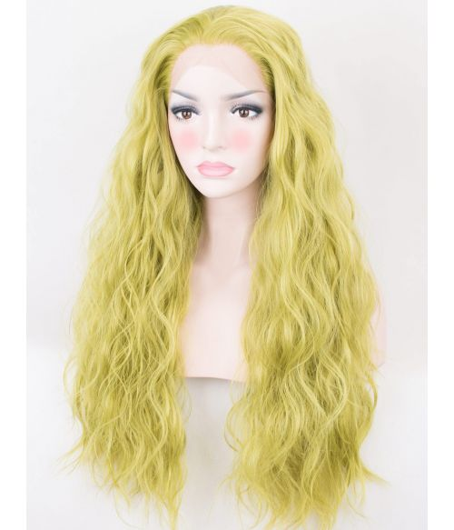 Bright Green Wig Lace Front Wavy