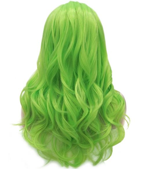 Bright Neon Green Wig Lace Front Long Wavy