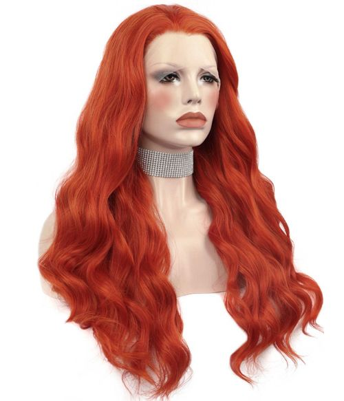Bright Red Wig Lace Front Wavy