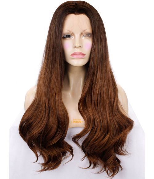 Brown Lace Front Wig Wavy Long