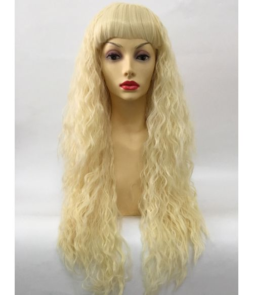 Crimped Wig Long Blonde