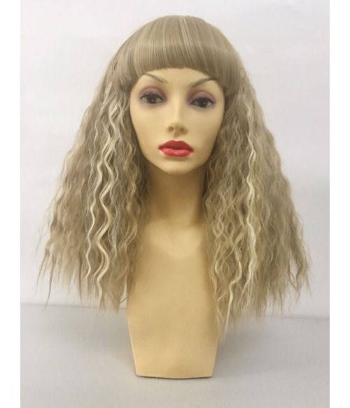 Crimped Wig With Bangs Blonde