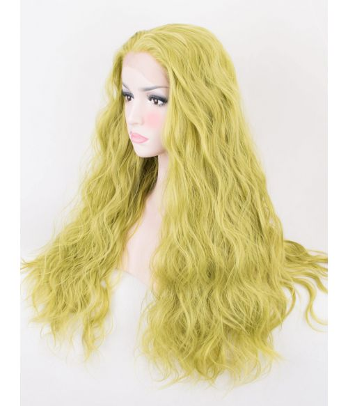 Curly Green Lace Front Wig