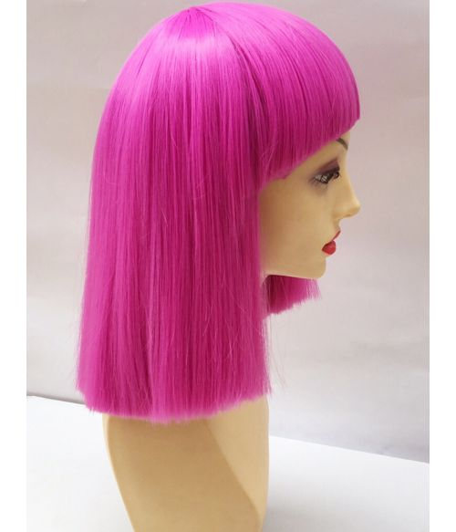 Dark Pink Bob Wig With Bangs