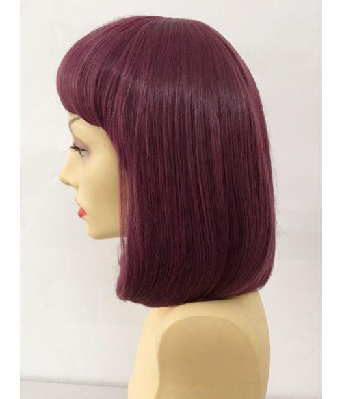 Dark Purple Wig Short Bob With Fringe