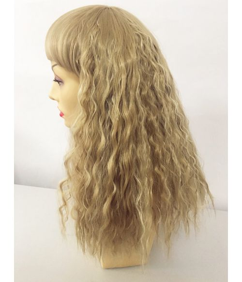 Dirty Blonde Wig Wavy With Bangs