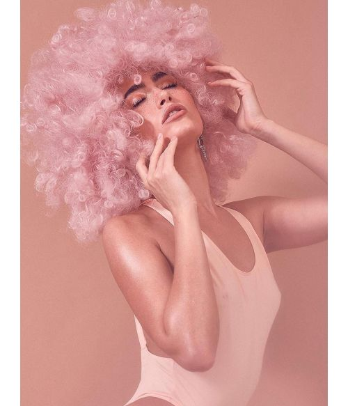 Disco Afro Wig Pink
