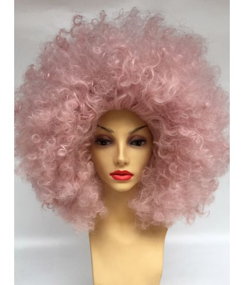 Full Afro Wig Pink Curly