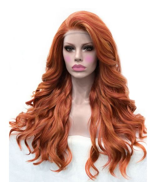 Ginger Red Wig Long Curly Lace Front