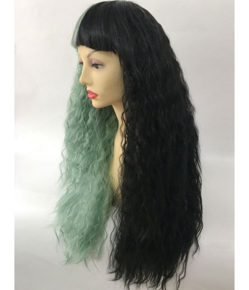 Half And Half Wig With Bangs