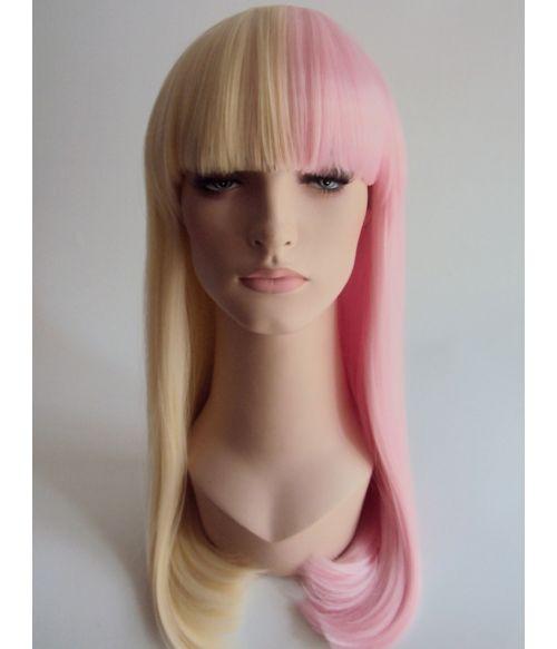 Half And Half Wig Pink Blonde