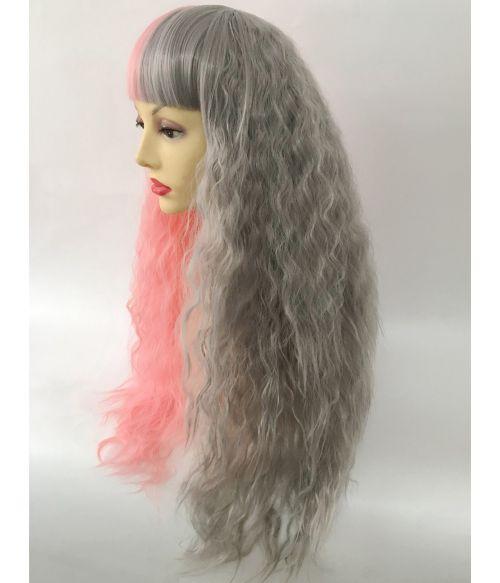 Half And Half Wig Pink