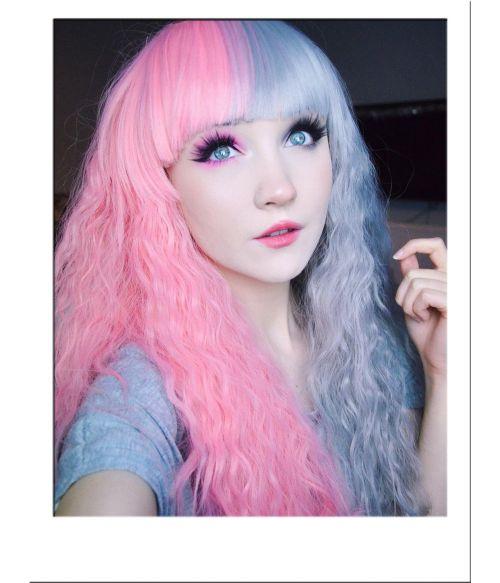 Half Pink And Half Grey Wig