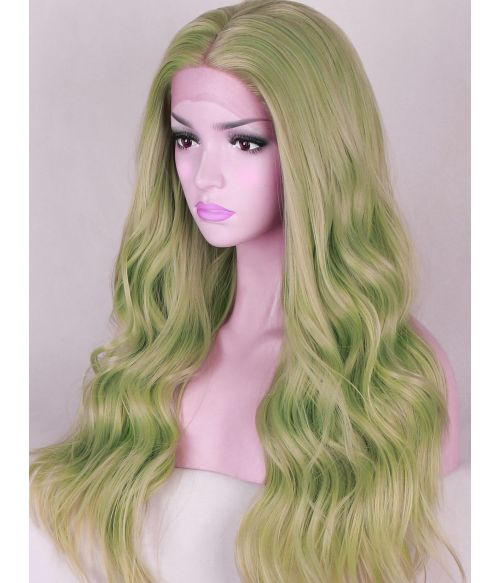 Light Green Lace Front Wig Long