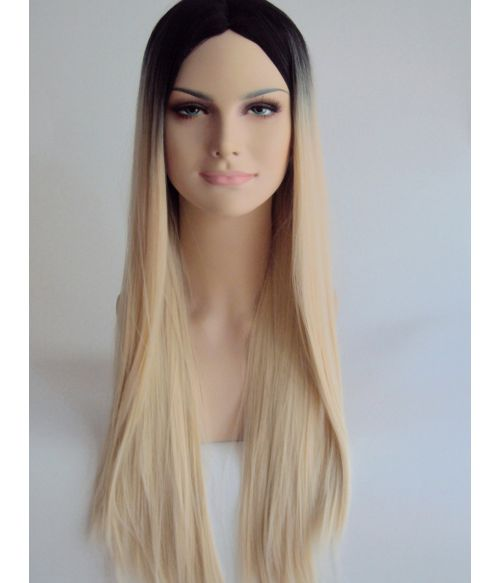 Long Blonde Straight Wig With Dark Roots