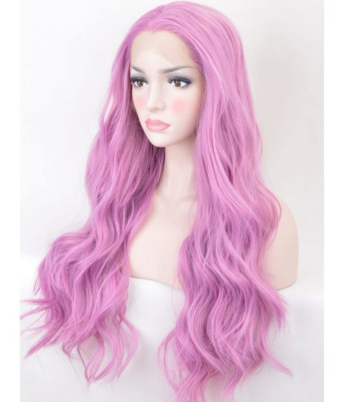 Long Wavy Pink Lace Front Wig