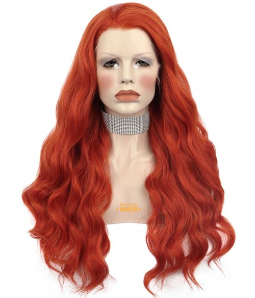Orange Red Lace Front Wig Wavy