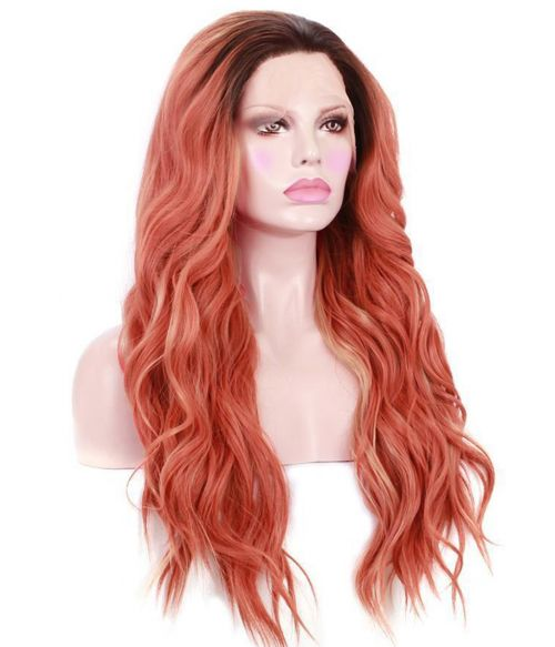 Orange Wig With Dark Roots Lace Front