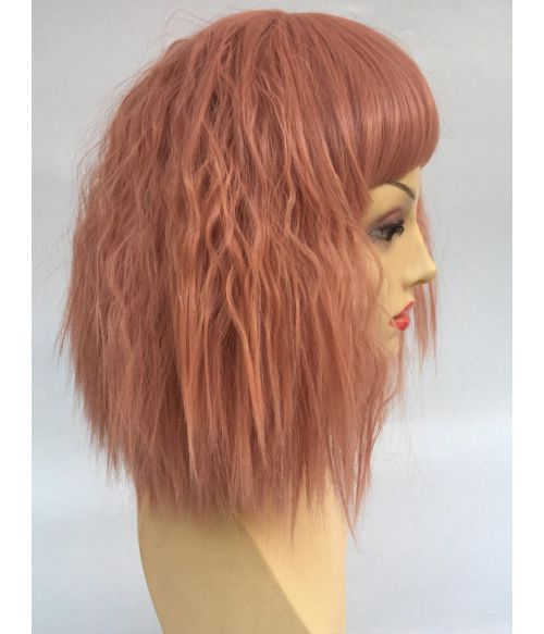Peach Bob Wig Wavy With Bangs