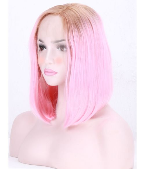 Pink Bob Wig Lace Front