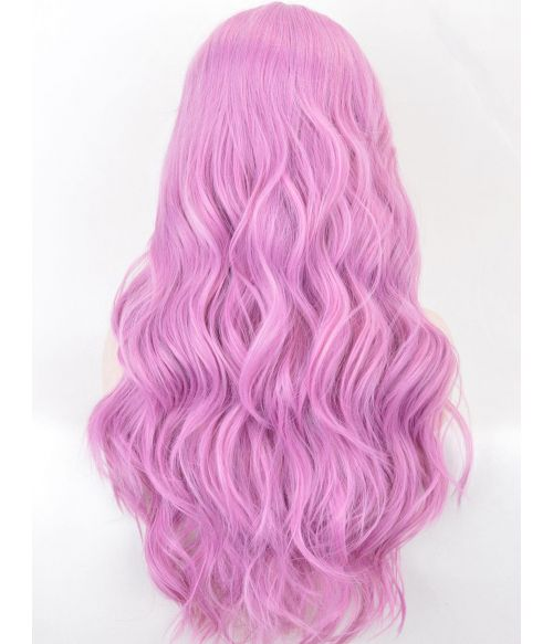 Pink Lace Front Wig Wavy Long