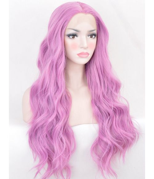 Pink Lace Front Wig Wavy