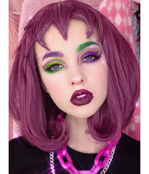 Plum Wig With Bangs