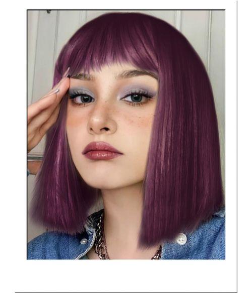 Purple Bob Wig Straight With Bangs
