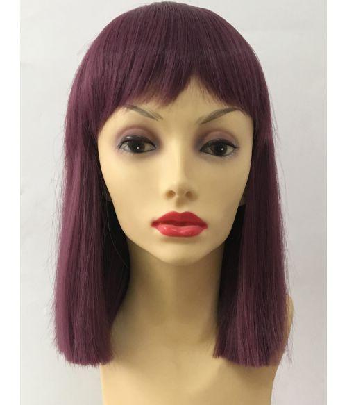 Purple Wig Straight Bob With Short Bangs